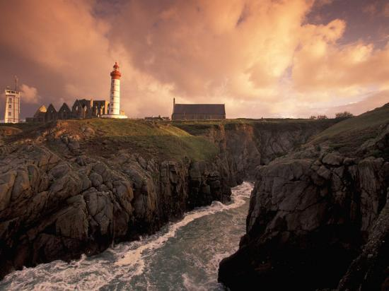 Pointe De St. Mathieu Lighthouse at Dawn, Brittany, France-Walter Bibikow-Photographic Print