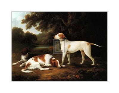 Pointer and Two Spaniels in a Park-Charles Henry Schwanfelder-Art Print