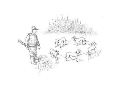 Pointer dogs blaming eachother - Cartoon-John O'brien-Premium Giclee Print