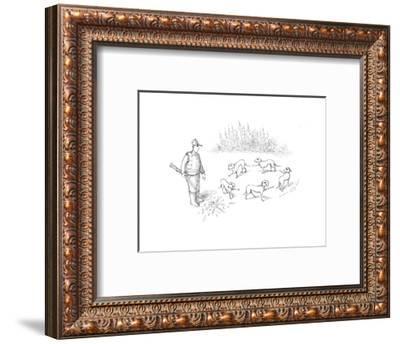 Pointer dogs blaming eachother - Cartoon-John O'brien-Framed Premium Giclee Print