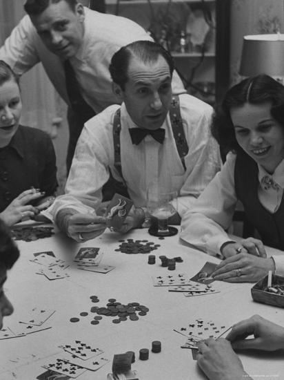 Poker Game Being Played with Pennies Instead of Chips-Nina Leen-Photographic Print