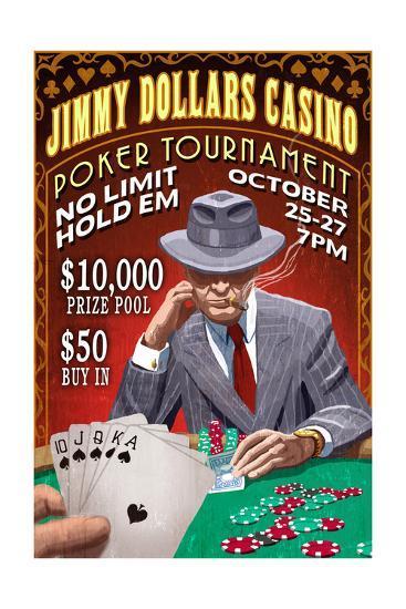 Poker Tournament - Vintage Sign-Lantern Press-Art Print