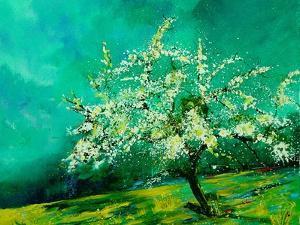 Apple tree in spring  landscape by Pol Ledent