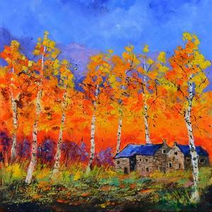 Aspen Trees in Autumn by Pol Ledent