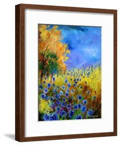 Blue wild flowers with an orange tree by Pol Ledent