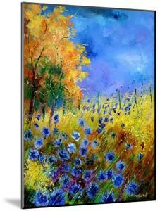 Blue Wildflowers with an Orange Tree by Pol Ledent