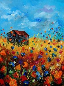 field flowers and old barn by Pol Ledent