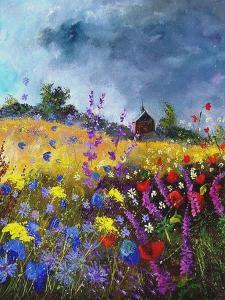 Flowers and old chapel by Pol Ledent