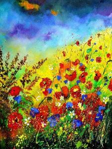 Red Poppies and Bluebells by Pol Ledent