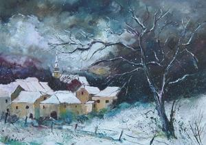 Snow on a liitle village in the Ardennes - Belgium by Pol Ledent
