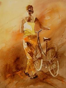 Walking Aside Her Bike Watercolor by Pol Ledent