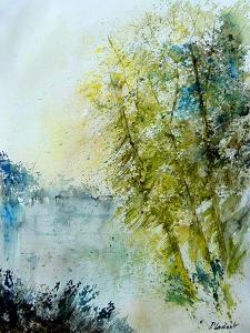 Watercolor 5575 Pond landscape by Pol Ledent