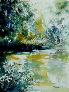 Watercolor Blue Pond by Pol Ledent