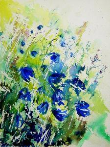 Watercolor Bluebell Flowers by Pol Ledent