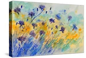 Watercolor Cornflowers by Pol Ledent