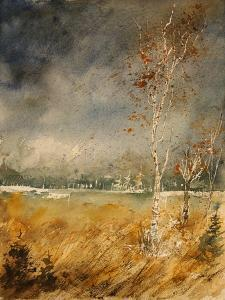 Watercolor Poplars in the Fagnes by Pol Ledent