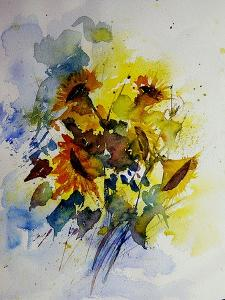 Watercolor Sunflowers by Pol Ledent