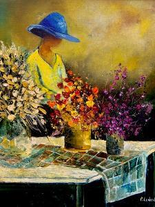 Woman and three bunches by Pol Ledent