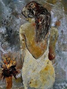 Young Lady And Flowers. by Pol Ledent