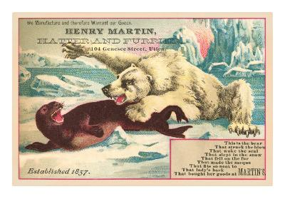 Polar Bear Attacking Seal--Art Print