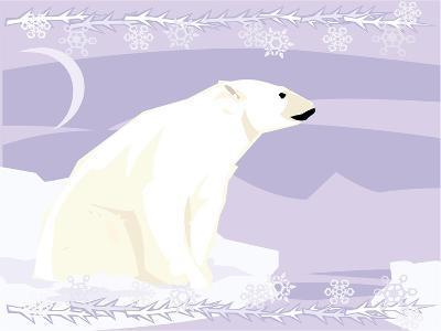 Polar Bear in a Decorative Illustration-Artistan-Art Print