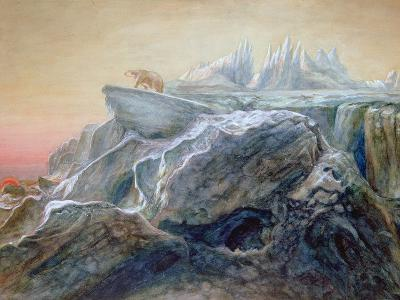 Polar Bear on an Iceberg-William Bradford-Giclee Print