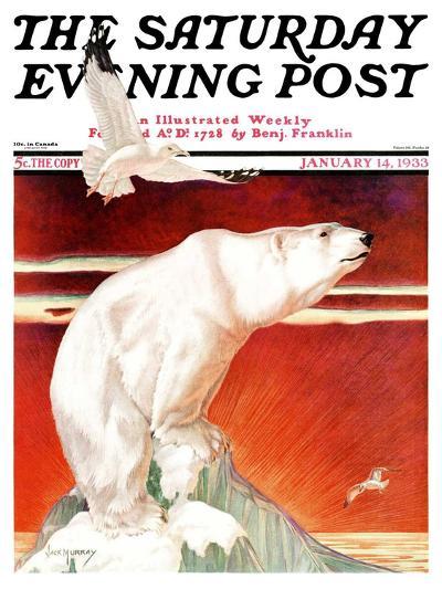 """Polar Bear on Iceberg,"" Saturday Evening Post Cover, January 14, 1933-Jack Murray-Giclee Print"