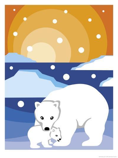 Polar Bear with Cub--Art Print