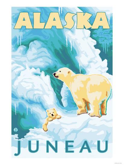 Polar Bears & Cub, Juneau, Alaska-Lantern Press-Art Print