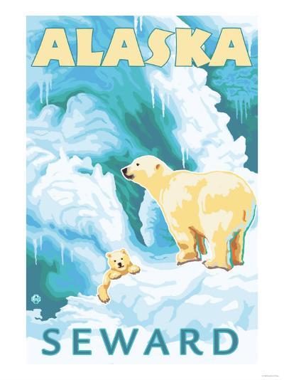 Polar Bears & Cub, Seward, Alaska-Lantern Press-Art Print