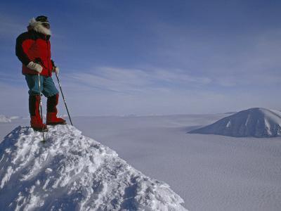 Polar Explorer Stands Atop Nemtinov Peak, Surrounded by Glaciers-Gordon Wiltsie-Photographic Print