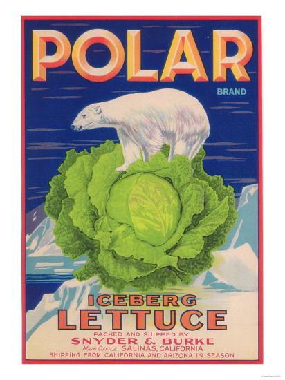 Polar Lettuce Label - Salinas, CA-Lantern Press-Art Print