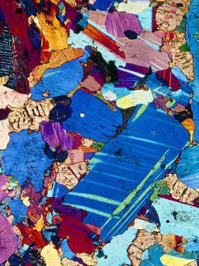Polarised LM of a Thin Section of Gabbro Rock-PASIEKA-Photographic Print