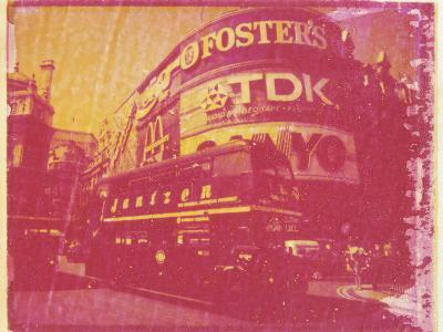 Polaroid Image Transfer of Piccadilly Circus with Red Double Decker Bus, London, England, UK-Lee Frost-Photographic Print
