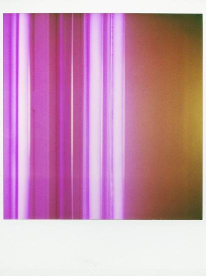 Polaroid of Colourful Stripes Created by Coloured Fluorescent Tubes-Lee Frost-Photographic Print