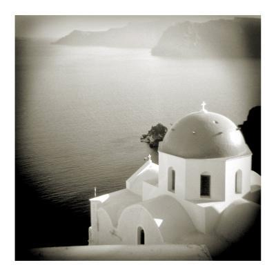 Polaroid of Domed Church, Oia, Santorini, Cyclades, Greek Islands, Greece, Europe-Lee Frost-Photographic Print