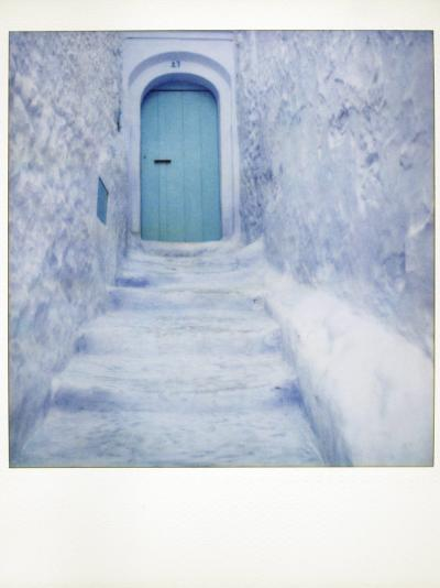 Polaroid of Traditional Bluewashed Street and Walls, Chefchaouen, Morocco, North Africa, Africa-Lee Frost-Photographic Print