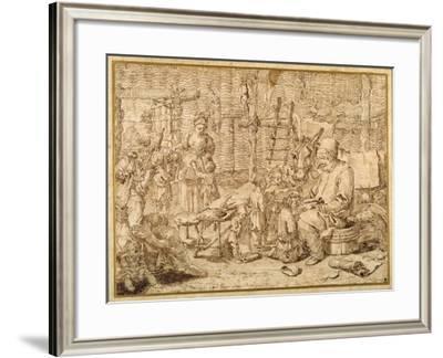 Polcinello Keeps School in a Barn-Pier Leone Ghezzi-Framed Giclee Print