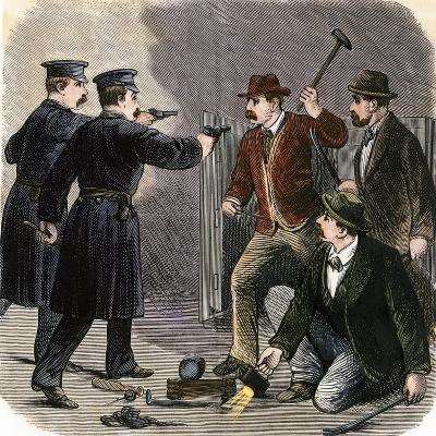 Police Arresting Safe-Crackers in a New York City Bank, 1870s--Giclee Print