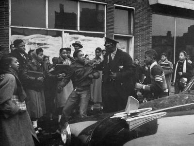 Police Breaking Up a Fight in the Slums--Photographic Print