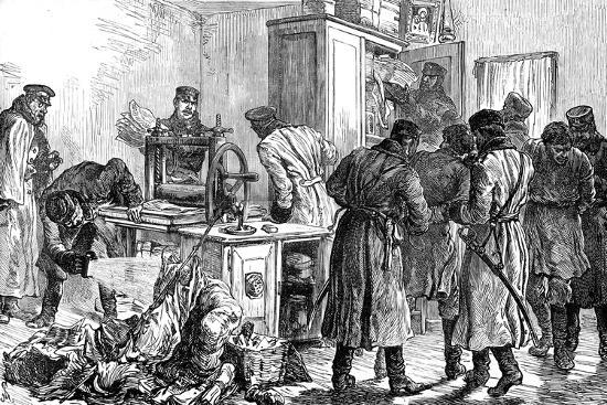 Police Discovering a Nihilist Printing Press, St Petersburg, Russia, 1887--Giclee Print