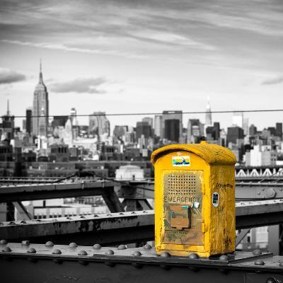 Police Emergency Call Box on the Walkway of the Brooklyn Bridge with Skyline of Manhattan-Philippe Hugonnard-Photographic Print