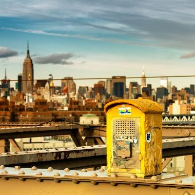 Police Emergency Call Box on the Walkway of the Brooklyn Bridge with Skyline of Manhattan-Philippe Hugonnard-Photographic Print