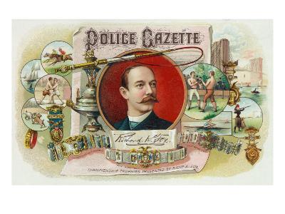 Police Gazette Brand Cigar Box Label-Lantern Press-Art Print