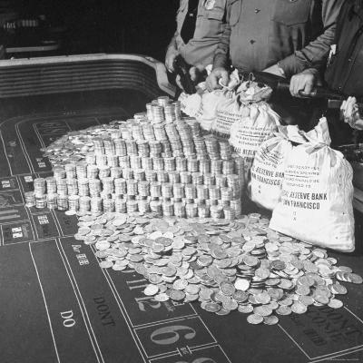 Police Guarding $500,000 in Silver Being Used During a WWII War Bond Rally in a Gambling Casino-John Florea-Photographic Print