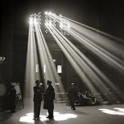 Police in Waiting Room of the Union Station, Chicago--Photographic Print
