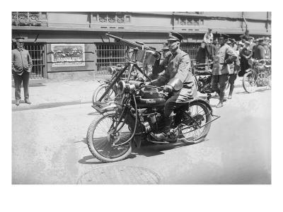 Police Mobile Motorcycle Machine Gun--Art Print