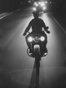 Police Motorcycle Leading Adlai E. Stevenson's Motorcade During His Campaign Tour