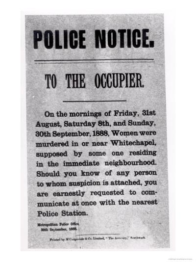 Police Notice to the Occupier Relating to Murders in Whitechapel, 30th September 1888--Giclee Print
