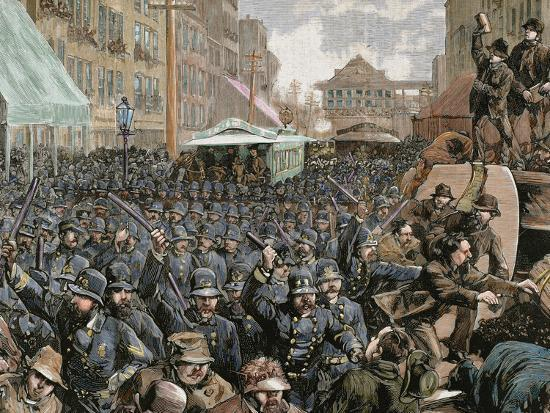 Police Officers Dispersing the Strike of Employees of Streetcar in New York, Usa, March 4, 1886-Prisma Archivo-Photographic Print